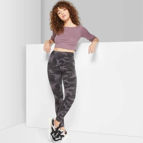 Women's Camo Print High-Waist Leggings - Wild Fable™ Black/Gray .