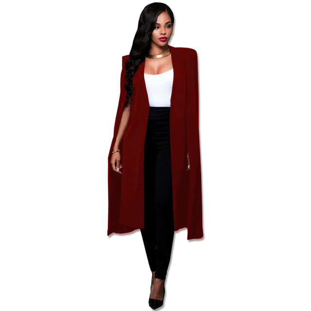 S 4XL Blue Black Red White Green Fashion Cape Coats Long Solid .