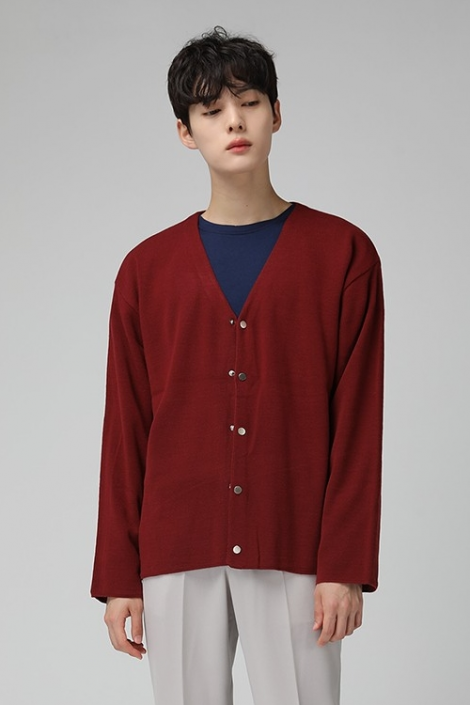 Basic Snap Buttoned V-neck Cardigans Mens Sweaters Casual Kpop Bas