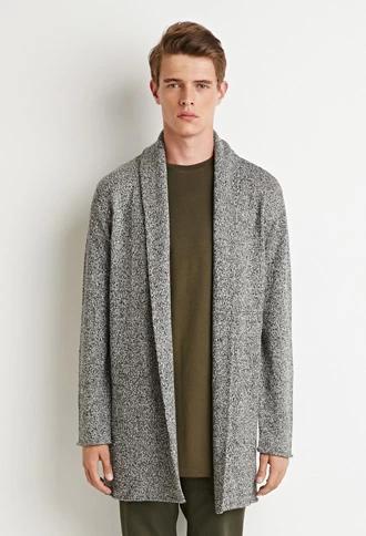 Marled Longline Shawl Cardigan | 21 MEN | #forever21men | Knitwear .