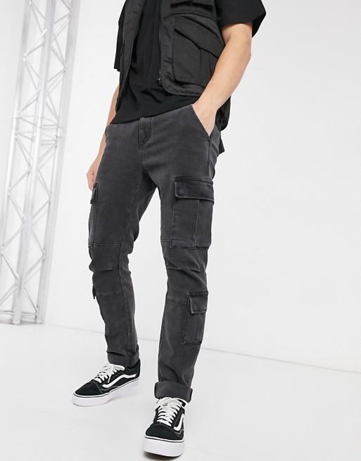 ASOS DESIGN stretch slim cargo jeans in retro black | AS