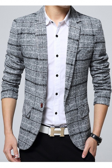 Men's Fashion Notched Lapel Long Sleeves Plaid Pattern Single .