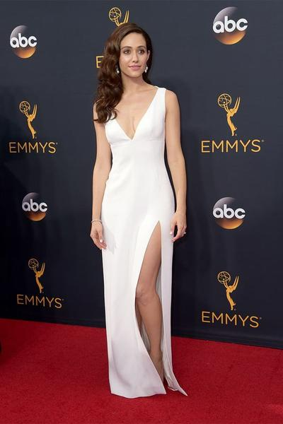 Emmy Rossum Simple Long White Celebrity Dresses with Slit Side .