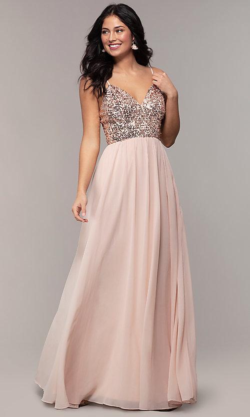 Long Chiffon V-Neck Prom Dress with Sequin Bodi