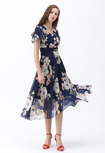 Sweet Surrender Floral Chiffon Dress in Navy - Retro, Indie and .