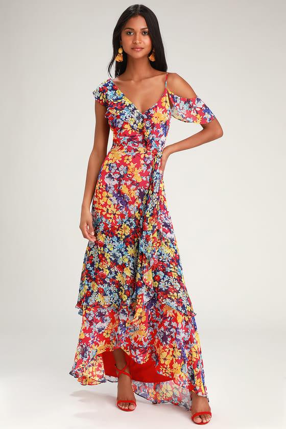 Pretty Red Floral Print Dress - Maxi Dress - Surplice Maxi Dre