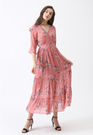 Rosebud Fairyland Wrap Chiffon Maxi Dress - Retro, Indie and .