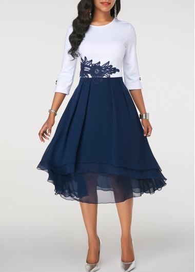 Chiffon Overlay Patterned Lace Panel Royal Blue Dress | Rosewe.com .