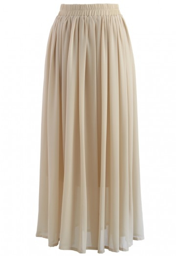 Nude Chiffon Maxi Skirt - Retro, Indie and Unique Fashi