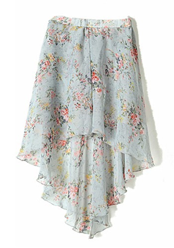 Multicolor Floral & Animial Print High-Low Chiffon Skirt - Skirts .