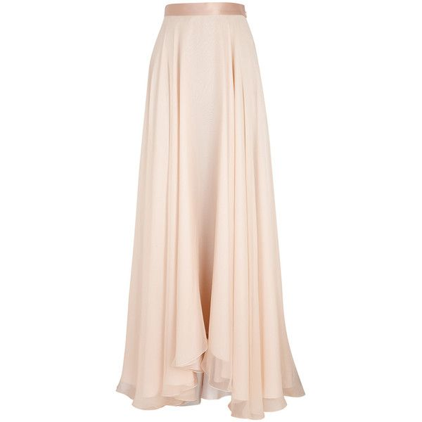 Lanvin Blush draped silk chiffon maxi skirt (43.849.070 IDR .
