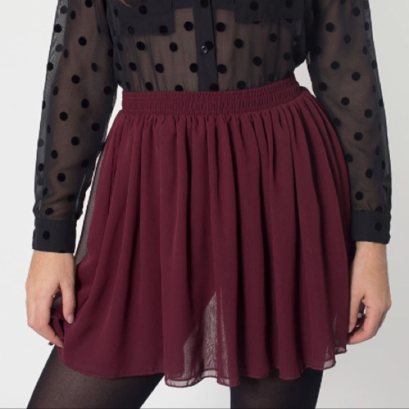 American Apparel Skirts | Burgundy Chiffon Skirt | Poshma