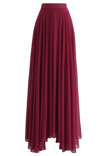 Timeless Favorite Chiffon Maxi Skirt in Wine - Retro, Indie and .