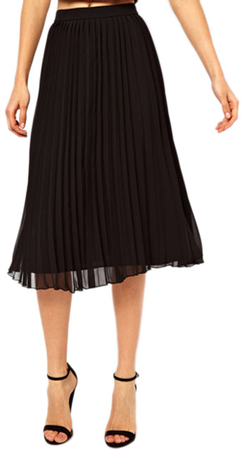 Romwe Layered Pleated Chiffon Black Skirt, $39 | Romwe | Lookastic.c