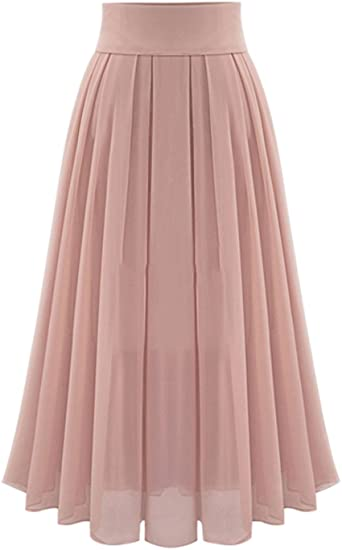 Tanming Women's Elegant High Waist Pleated Chiffon Skirt at Amazon .
