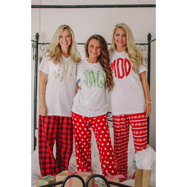 Monogrammed Christmas Pajamas for Adult and Youth – My Southern Cha