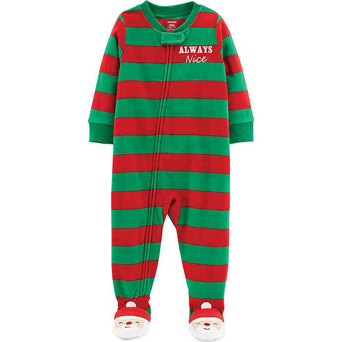 carter's® Always Nice Striped Fleece Christmas Pajamas in Red .
