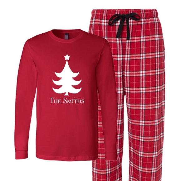 Personalized Christmas Tree Flannel Pajamas, CHristmas Tree PJ's .