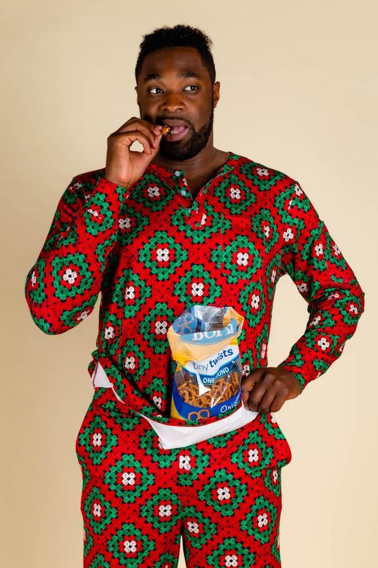 Men's Christmas Afghan Holiday Pajama Top | Grandma's Quilty Pleasu
