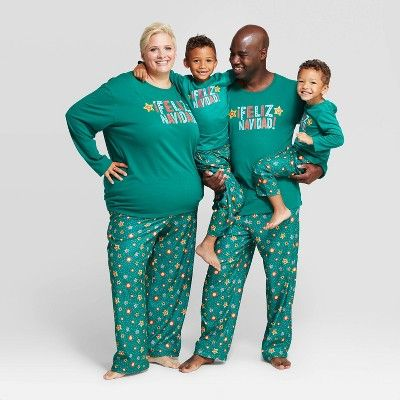 "Baby Holiday ""Feliz Navidad"" Footed Pajamas - Wondershop Green 6 ."