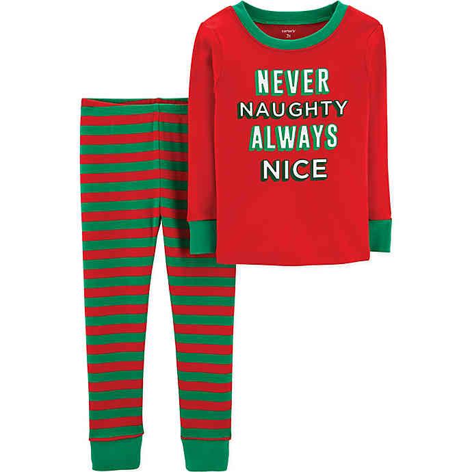 carter's® 2-Piece Child Never Naughty Christmas Pajamas in Red .