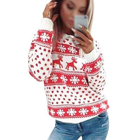 Sexy Dance - Christmas Sweaters Women Elk Snowflake Printed .