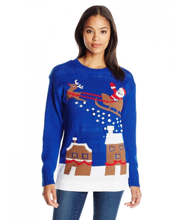 Women's Light-up House with Flying Santa Ugly Christmas Sweater .