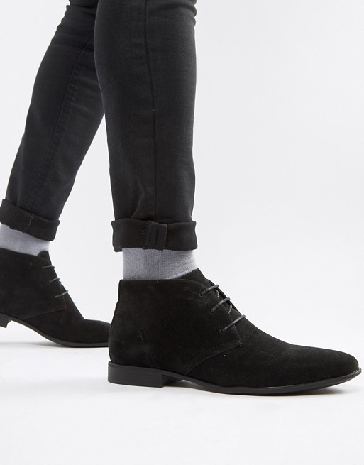 ASOS DESIGN chukka boots in black faux suede | AS