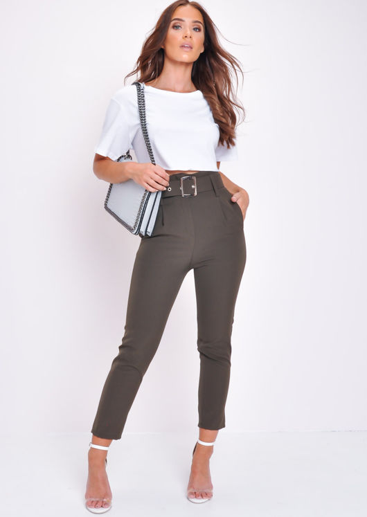 High Waist Belted Cigarette Trousers Gre