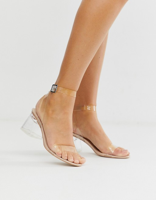 Public Desire Afternoon mid clear heeled sandals | AS