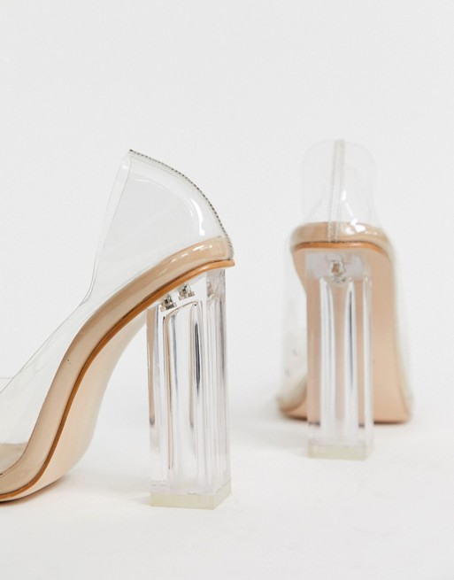 Public Desire Alluring Clear block heeled shoes in beige patent | AS