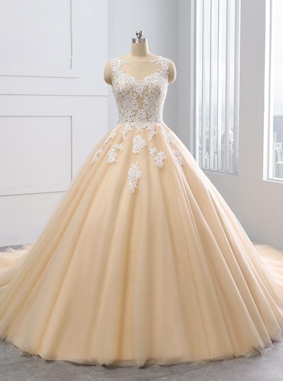 Ball Gown Wedding Dresses,Colored Wedding Dress,Tulle Ball Gown .