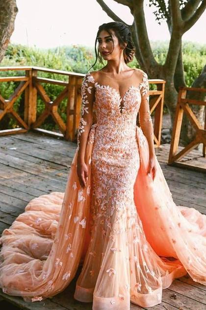 Beaded Lace Colored Wedding Dresses with Long Tulle Overskirt .