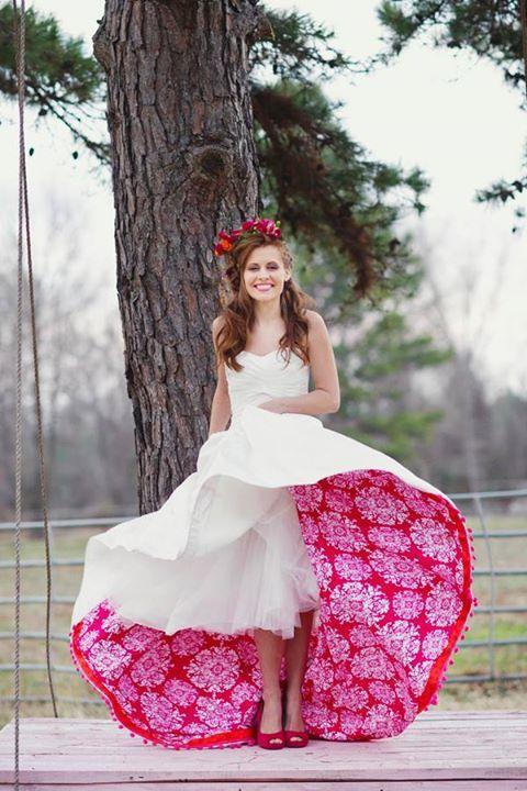 Wedding dress with hidden splash of color | Floral wedding dress .