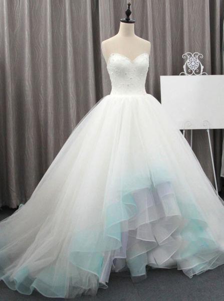 Colored Wedding Dresses,High Low Wedding Dress,Tulle Wedding Dress .