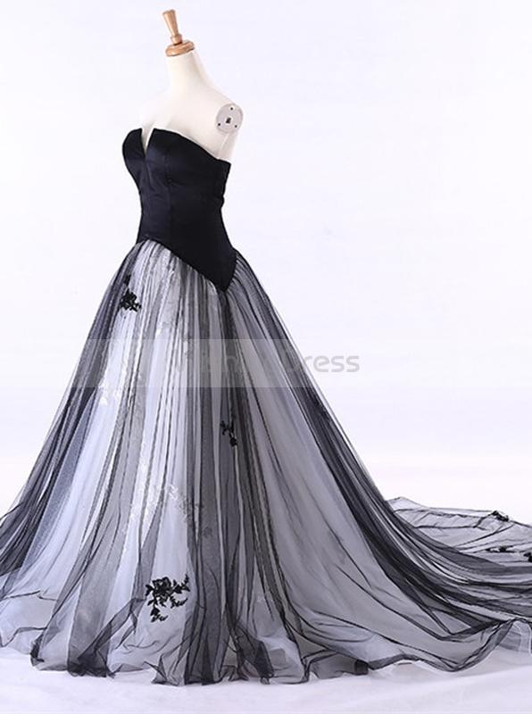 Colored Wedding Dresses,Black Wedding Dress,Strapless Wedding Gown .