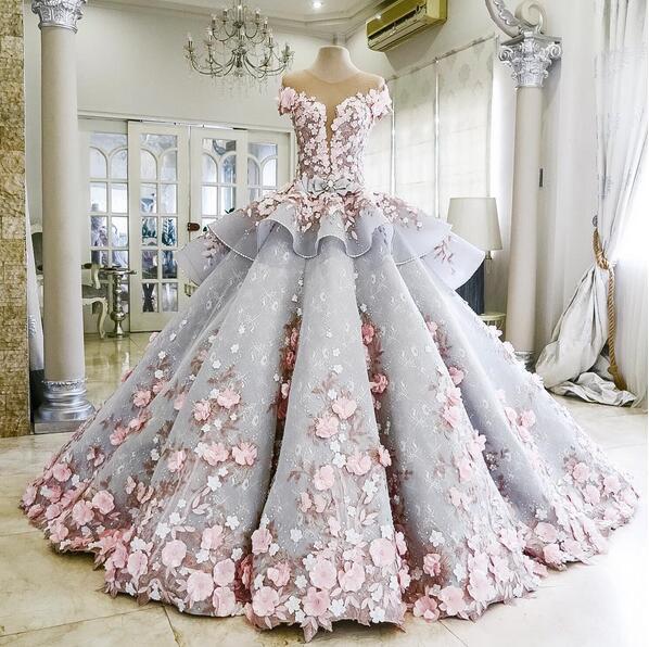 Ball gown wedding dress, lace wedding dress, flower wedding dress .