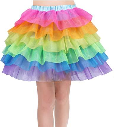 Rainbow Tutu Skirt for Women Unicorn Skirts Colorful Tulle Tiered .