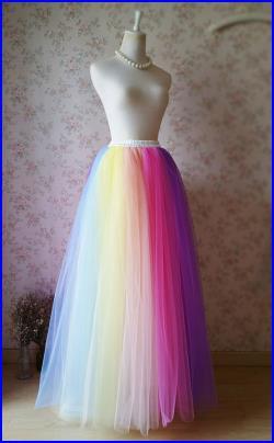 Unique Elastic Rainbow Tulle Skirt,Adult Rainbow Skirt,Custom .