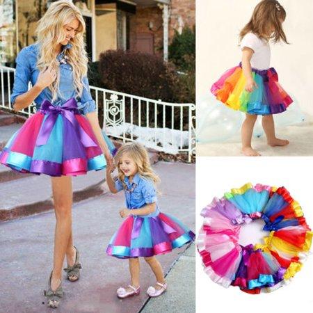 Calsunbaby - Mother And Daughter Women Girls Rainbow Tutu Skirt .