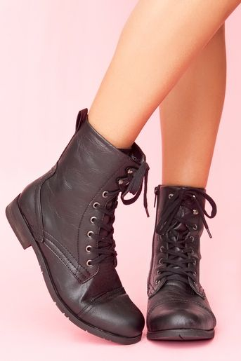 black flat combat boots. Go with chiffon dress but not so girly .