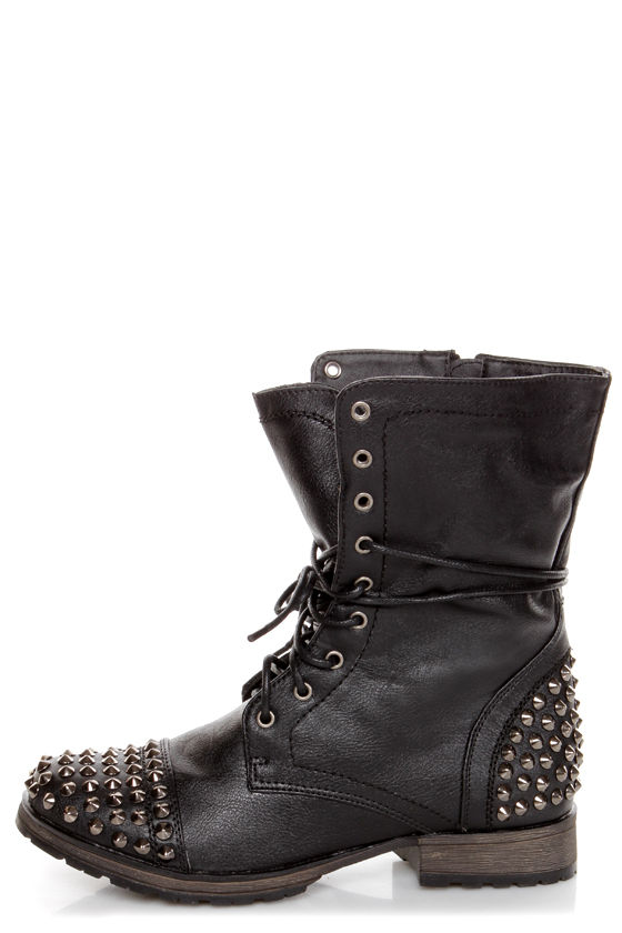 Georgia 28 Black Studded Lace-Up Combat Boots - $49.