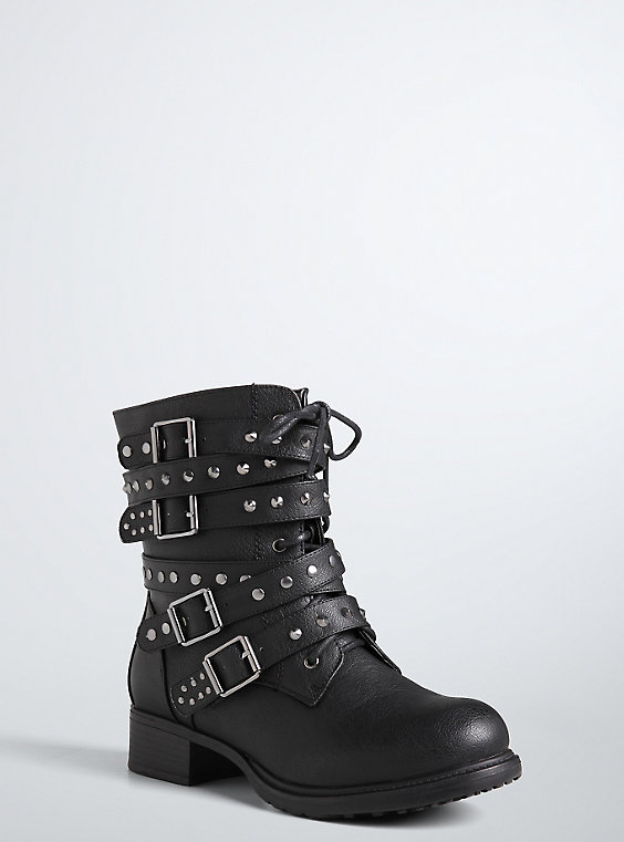 Plus Size - Strappy Studded Combat Boots (Wide Width) - Torr