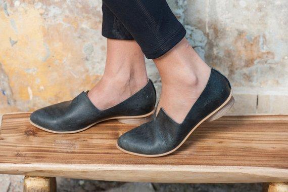 Women Leather Shoes, Women Flats, Wooden Heel Shoes, Black Shoes .