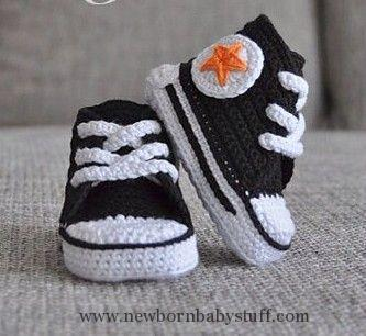 Crochet Baby Booties Image result for crochet converse baby .