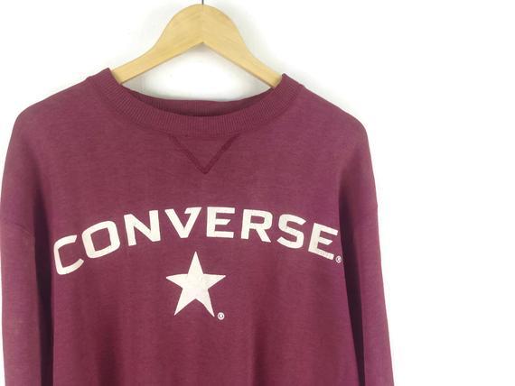 Converse Vintage Sweatshirt Maroon / Aesthetic Clothing / | Et