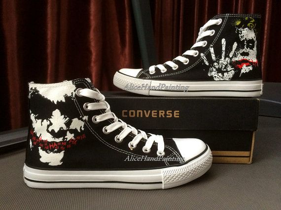 Joker Black Hand Painted Canvas High Top Shoes for Women Men (With .