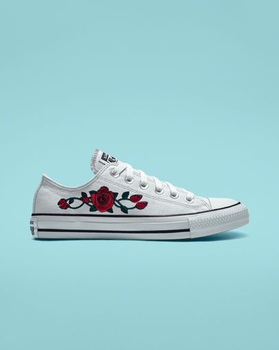 Custom Chuck Taylor All Star Rose Embroidery Low Top | Converse .