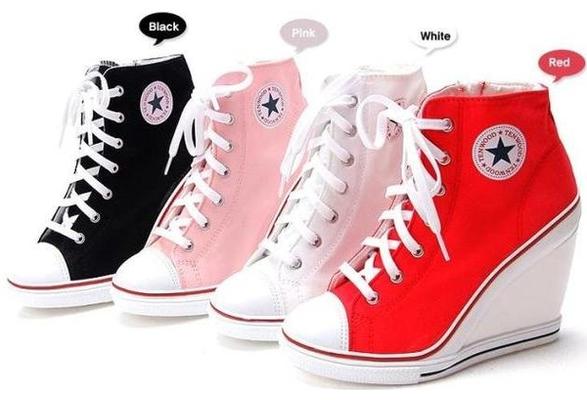 Converse Style High Heel Shoes | Sapatos, Sapatilhas, Sapato abotina