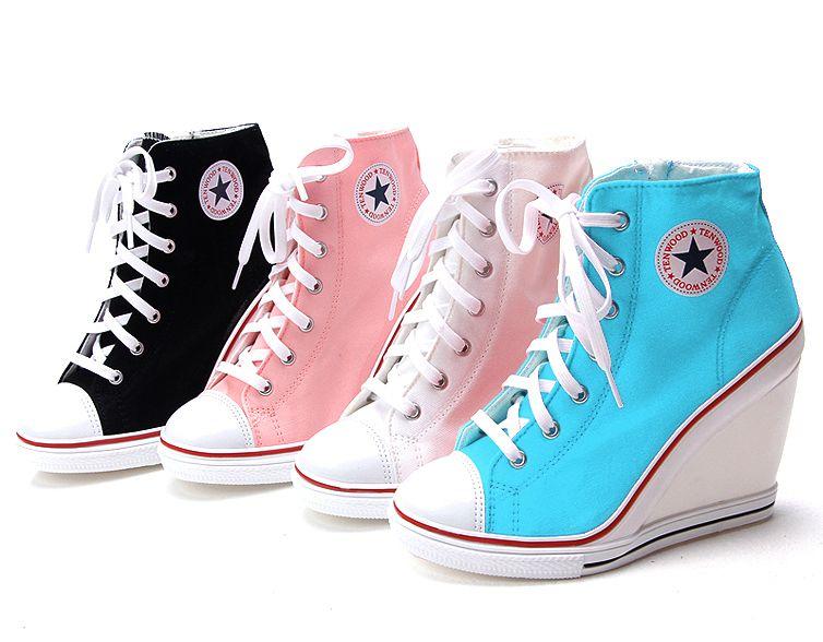 Converse heels - Womens White Sneakers Zip Wedge Heel Shoes Lady .